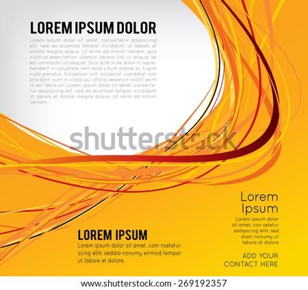 Flyer or brochure template, abstract orange design - stock vector