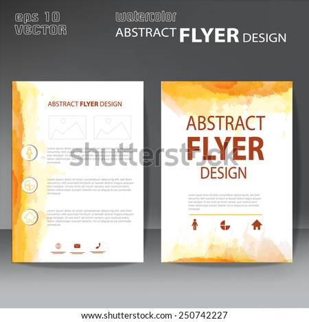 flyer or brochure  with modern watercolor design - stock vector