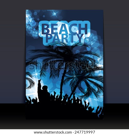 Flyer or Cover Design - Beach Party - stock vector