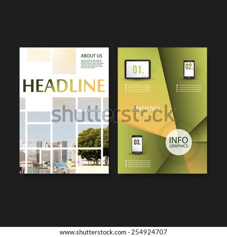 Flyer or Cover Design Template - Business, Networks, Infographics - Corporate Identity Concept - stock vector
