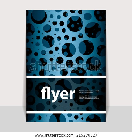Flyer or Cover Design with Blue Dotted Abstract Pattern - stock vector