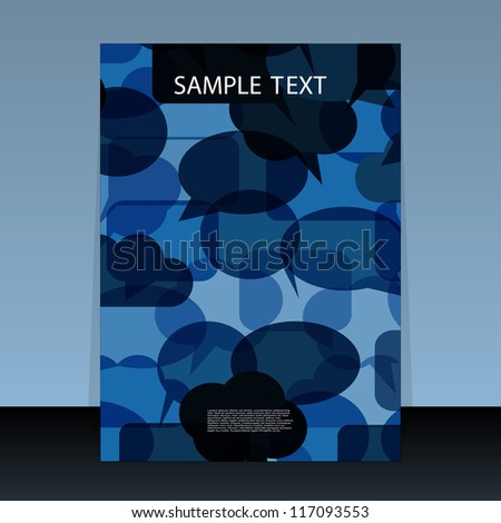 Flyer or cover design with speech bubbles - stock vector