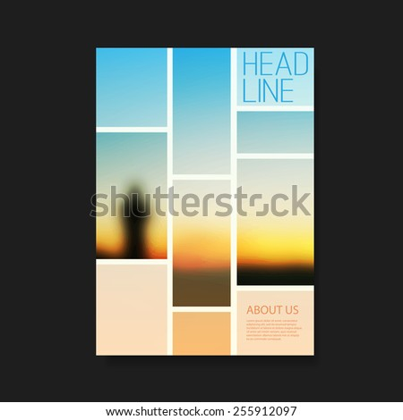 Flyer or Cover Design with Sunset - stock vector