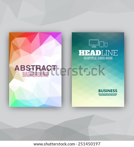 Flyer Set - Abstract Backgrounds - Presentation Template - Brochure Print Design Elements - stock vector