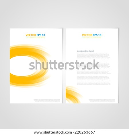 Flyer template back and front design. Brochure design templates collection with yellow curve - stock vector