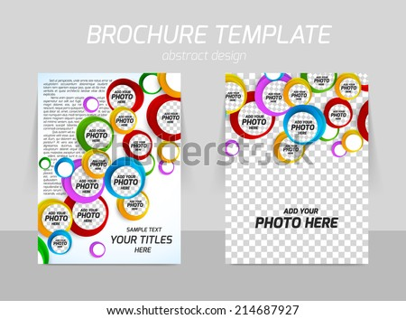 Flyer template back and front design with colorful design - stock vector