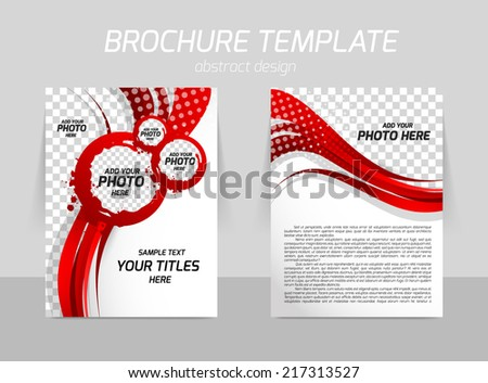 Flyer template back and front design with wavy red lines - stock vector
