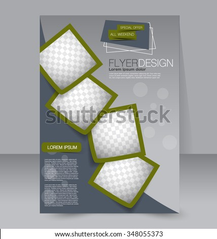 Flyer template. Brochure design. Editable A4 poster for business, education, presentation, website, magazine cover. Green color. - stock vector
