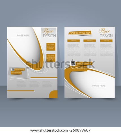 Flyer template. Business brochure. Editable A4 poster for design, education, presentation, website, magazine cover. Gold color. - stock vector