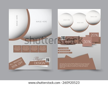 Flyer template. Business brochure. Editable A4 poster for design, education, presentation, website, magazine cover. Brown color. - stock vector