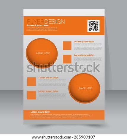 Flyer template. Business brochure. Editable A4 poster for design, education, presentation, website, magazine cover. Orange color. - stock vector