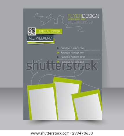 Flyer template. Business brochure. Editable A4 poster for design, education, presentation, website, magazine cover. Grey and green color. - stock vector