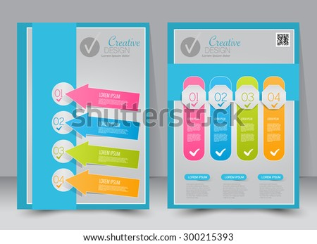 Flyer template. Business brochure. Editable A4 poster for design, education, presentation, website, magazine cover. Blue background color. - stock vector