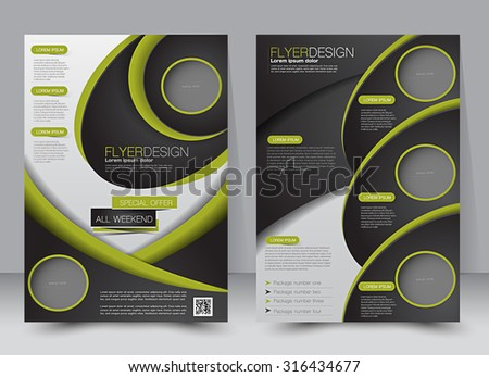 Flyer template. Business brochure. Editable A4 poster for design, education, presentation, website, magazine cover. Black and green color. - stock vector