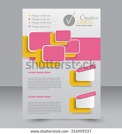Flyer template. Business brochure. Editable A4 poster for design, education, presentation, website, magazine cover. Orange and pink color. - stock vector