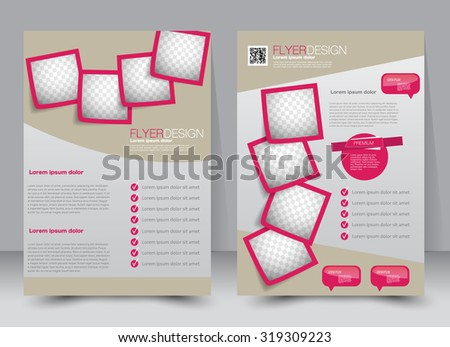 Flyer template. Business brochure. Editable A4 poster for design, education, presentation, website, magazine cover. Pink and brown color. - stock vector