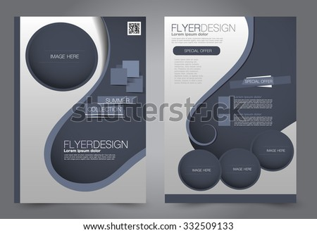 Flyer template. Business brochure. Editable A4 poster for design, education, presentation, website, magazine cover. Blue color.  Editable vector illustration. - stock vector
