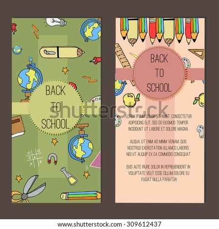 Flyer Template of Back to School and Education Objects and Elements. Freehand drawing school items. Back to School. Vector illustration. Set - stock vector