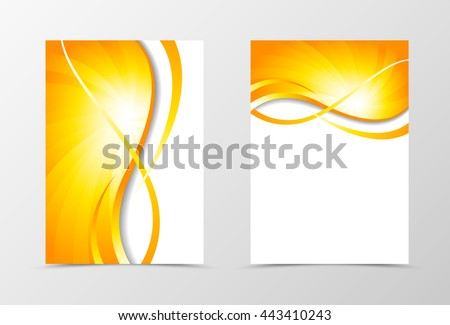 Flyer template vortex design. Abstract flyer template with gold wavy lines. Swirl wave spectrum flyer design. Vector illustration - stock vector
