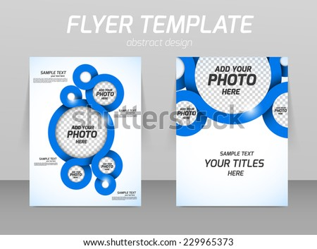 Flyer template with spiral in blue color - stock vector