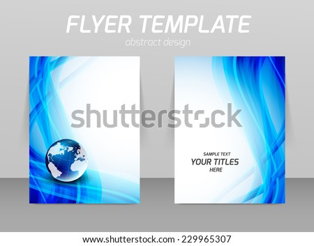 Flyer template with wavy design and globe - stock vector