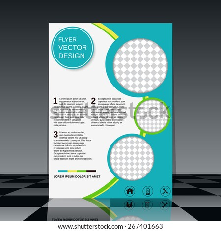 Flyer vector template. Brochure cover, poster, booklet, presentation abstract design. - stock vector