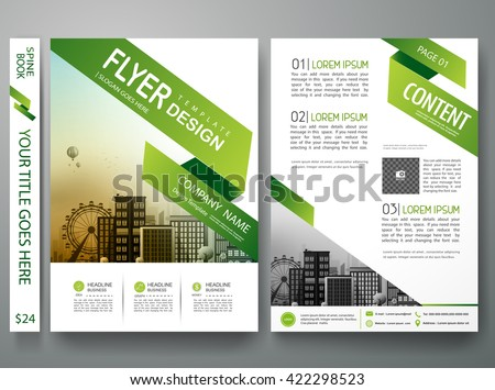 Flyers design template vector.Brochure report business magazine poster template.Cover book portfolio presentation and abstract green shape on poster design.City design on brochure background.A4 layout - stock vector