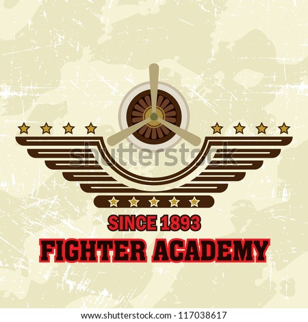 Flying Academy Emblems / Fighter Academy - stock vector