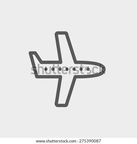 Flying airplane icon thin line for web and mobile, modern minimalistic flat design. Vector dark grey icon on light grey background. - stock vector