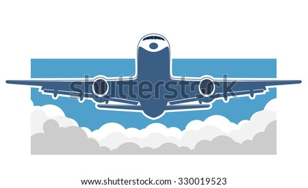 flying airplane sign. vector illustration 9 - stock vector