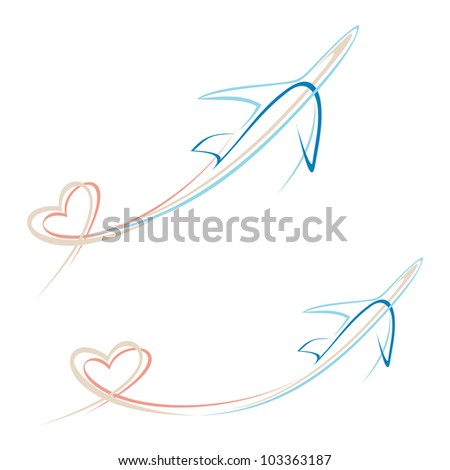 Flying airplane with heart shape trace - stylized vector illustration. Isolated icon on white background. Line art design element. Airliner. - stock vector