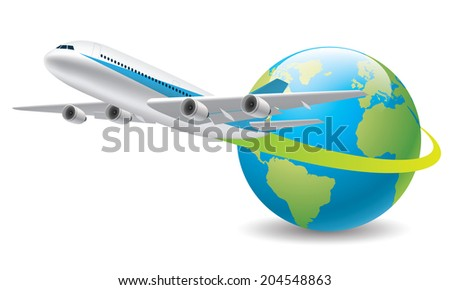 Flying around the world - stock vector
