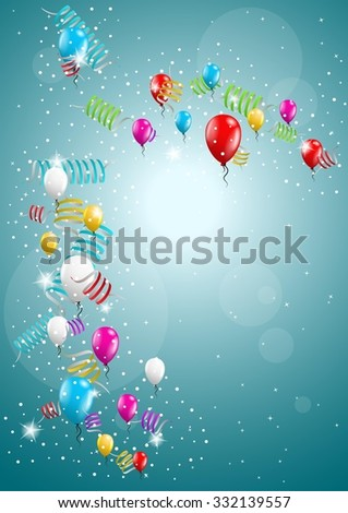 flying balloon and confetti on festive blue background - stock vector