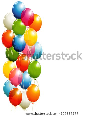Flying balloons background - stock vector