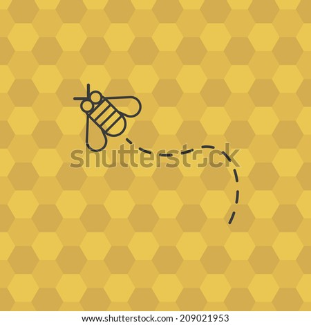 Flying bee, with honeycomb on background. Stylized design background, for poster, flyer, cover, brochure. Easy to edit. Vector illustration - EPS10. - stock vector