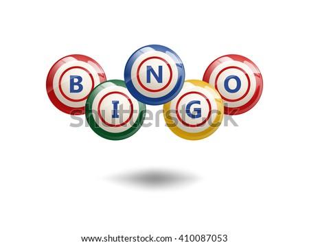 Flying Bingo Balls or Lottery Colorful Numbers. Isolated  bingo vector illustration. Bingo colorful balls with letters. Bingo lettering design. Bingo composition. - stock vector