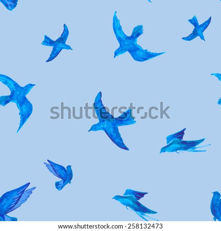 flying birds painted watercolor. seamless vector illustration - stock vector