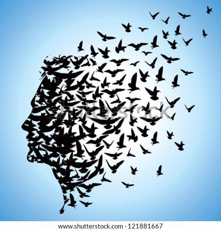 flying birds to human head - stock vector