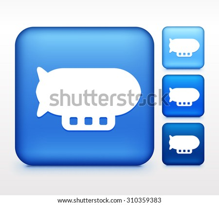 Flying Blimp Colorful Square Button - stock vector