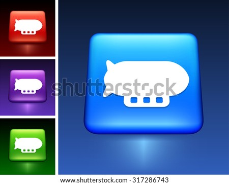 Flying Blimp on Blue Square Button - stock vector