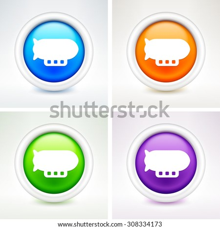 Flying Blimp on Colorful Round Buttons - stock vector