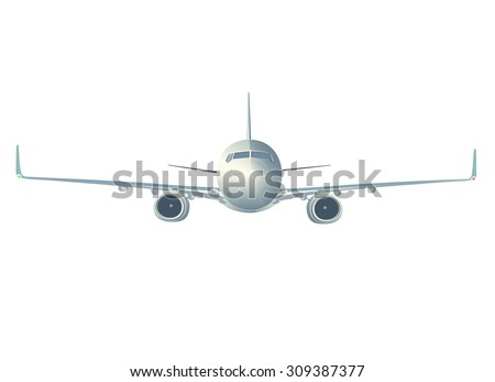 Flying Boeing airliner  isolated on white, front view. - stock vector