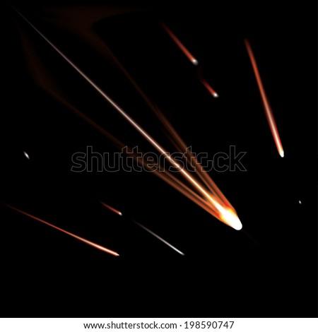 Flying burning comets. Vector illustration - stock vector
