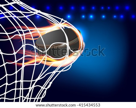 Flying burning hockey puck in goal - place for your text. Vector illustration. - stock vector