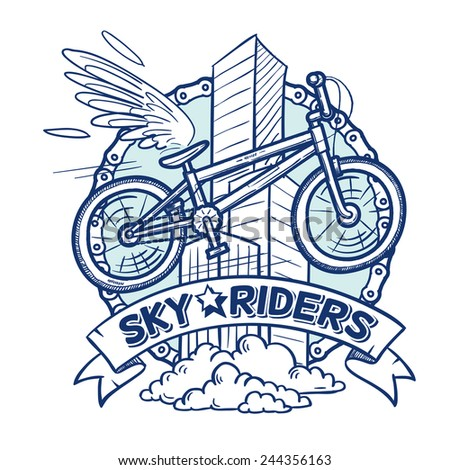 flying city bike with a wing on a sky buildings background, a doodle sketch funky style vector illustration. - stock vector