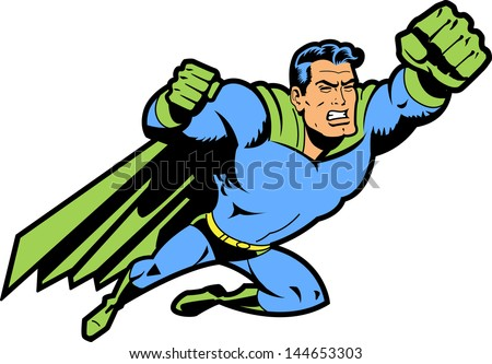 Flying Classic Retro Superhero With Clenched Teeth and Fist Ready To Fight - stock vector