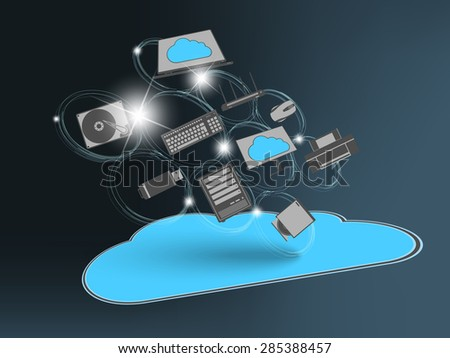 Flying cloud with computing devices as concept - stock vector