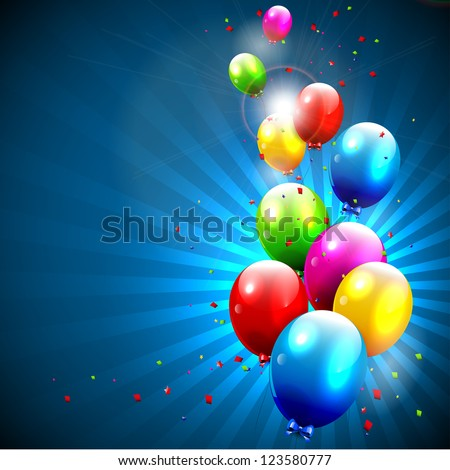 flying colorful balloons on blue background - stock vector