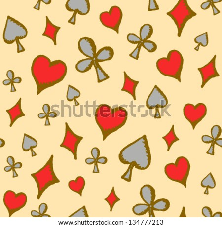 Flying colorful playing cards symbols seamless pattern - stock vector