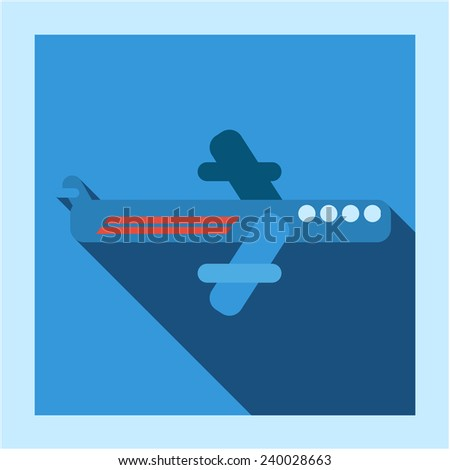 Flying commercial airplane icon photo frame card in flat style with long shadow. For airline transport business, education, infographics and internet web site design  - stock vector